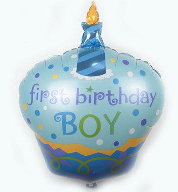 Grote blauwe first birthday boy ballon babyshower voor eerste verjaardag jongen 68 cm