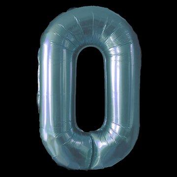 Cijferballon - blauw - 97 cm nummer 0 professionele kwaliteit