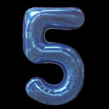 Cijferballon - blauw - 97 cm nummer 5 professionele kwaliteit