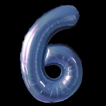 Cijferballon - blauw - 97 cm nummer 6 professionele kwaliteit