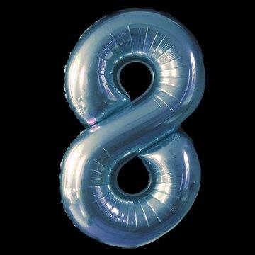 Cijferballon - blauw - 97 cm nummer 8 professionele kwaliteit