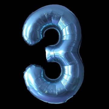 Cijferballon - blauw - 97 cm nummer 3 professionele kwaliteit