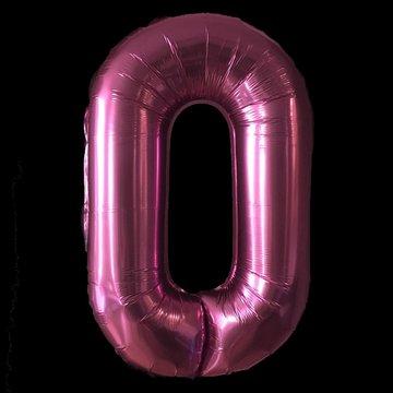 Cijferballon - roze - 97 cm nummer 0 professionele kwaliteit