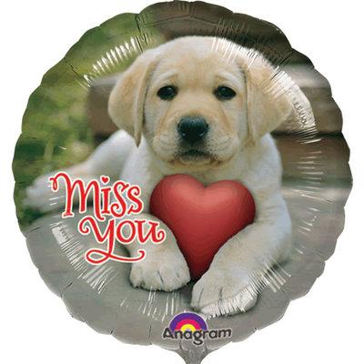 Ronde folieballon met afbeelding van een puppy en de tekst: Miss you.