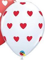 5 stuks ledverlichte Witte ballon met rode hartjes 30 cm met losse LED-lampjes