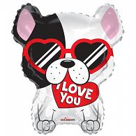 Folie ballon als hond I love you ! met bril 46 cm groot