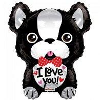 Folie ballon als hond I love you ! 46 cm groot