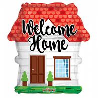 Folie ballon als huis welcome home  46 cm groot