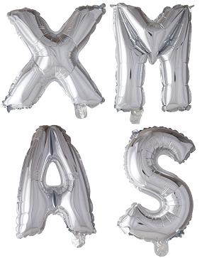 ballonnen - 100 cm - zilver - letters - XMAS