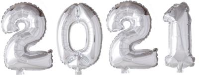 Cijferballonnen pakket 2021 goud of zilver 41 cm