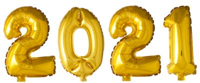 Cijferballonnen pakket 2021 XL goud of zilver 100 cm