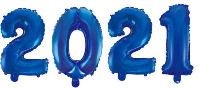 Cijferballonnen pakket 2021 XL 86 cm in diverse kleuren