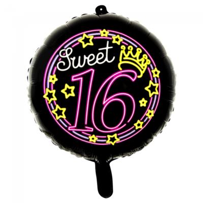Folieballon Sweet Sixteen 16 neonkleuren, 46 cm