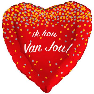 Folie ballon Ik hou van jou hartvorm met stippen 43 cm