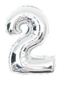 cijferballon - 41 cm - zilver - ballon - cijfer 2