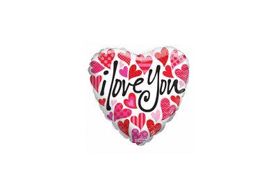 Folie ballon I Love You rond 46 cm groot met hartjes