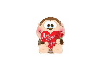 Folie ballon I Love You rond 46 cm groot met een aapje