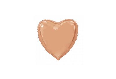 Folie ballon in de vorm van een hart in de kleur rose gold 92 cm groot