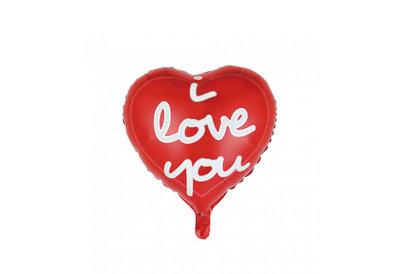 Folie ballon in de vorm van een rood hart met de tekst I love you 46 cm groot