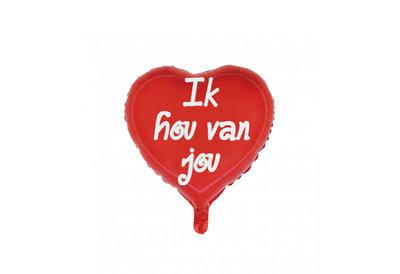 Folie ballon in de vorm van een rood hart met de tekst ik hou van jou 46 cm groot