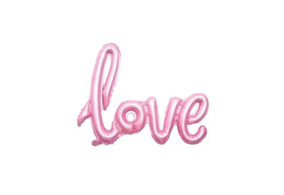 Folie ballon licht roze als tekst love 108*65.5 cm