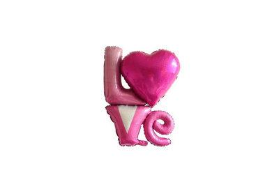 Folie ballon roze met hart love you 91*81 cm
