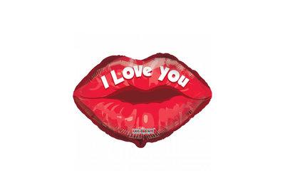 Grote ballon doorsnee 46 cm i love you lippen