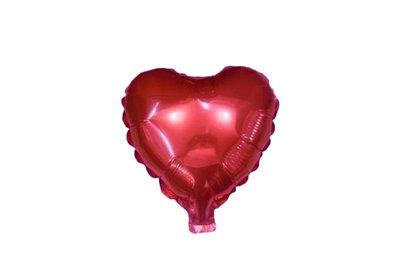 45 cm rode hartvormige folie ballon van hoge kwaliteit. Per stuk verpakt