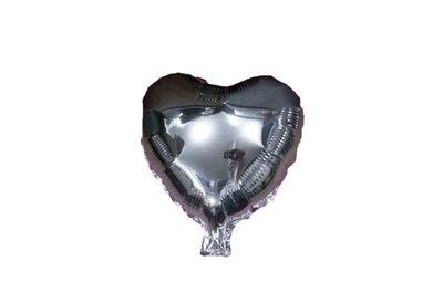 45 cm zilveren hartvormige folie ballon van hoge kwaliteit