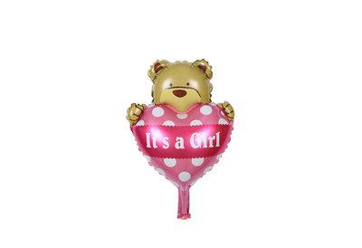 Grote roze beer en hart ballon its a girl voor geboorte meisje 38 cm