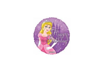 Folie ballon Happy Birthday met een prinses 46 cm doorsnee