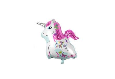 Grote XL happy birthday roze  eenhoorn paard ballon 80 cm