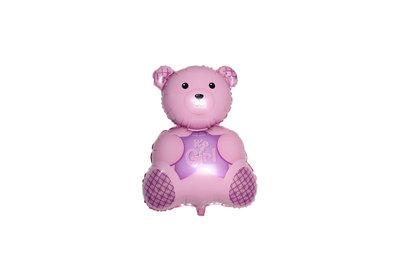 Grote XL roze beer ballon its a girl voor geboorte meisje 61 cm