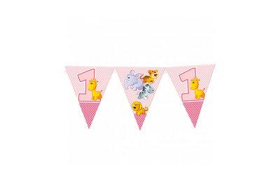 Vlaggen Slinger Met Eerste Verjaardag Girl Ballonnenparade