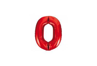 Cijferballon rood 86 cm nummer 0 professionele kwaliteit
