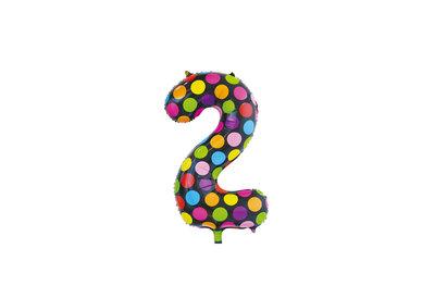 Folie ballon cijfer 2 in het zwart met gekleurde stippen 86 cm