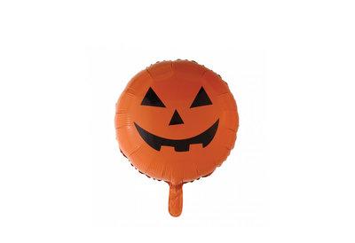 Folie ballon Halloween pompoengezicht kleur oranje  46 cm groot