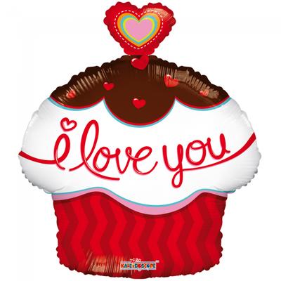Folie ballon taartjes vorm 46 cm groot met tekst I love you