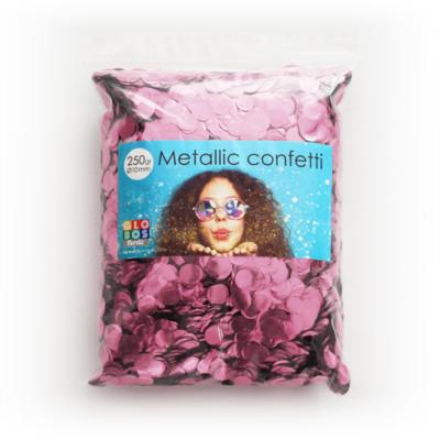 Confetti metallic rond 10mm - 250 gram - baby pink