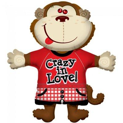 Folie ballon xl aapje crazy in love ! 91,4 cm groot