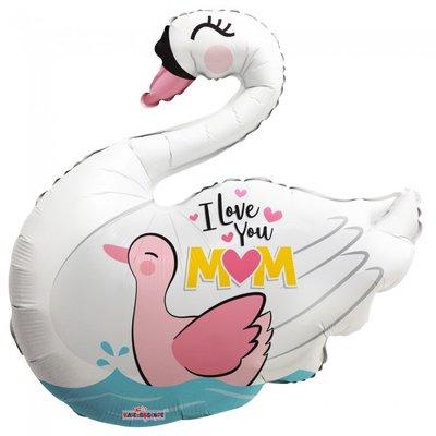 Folie ballon voor moederdag xl zwaan I love you mom 91,4 cm groot