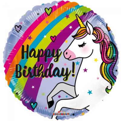 Folie ballon met eenhoorn regenboog happy birthday 46 cm groot