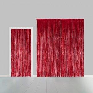 Partygordijn rood.  100cm x 240 cm. Vlamvertragend.