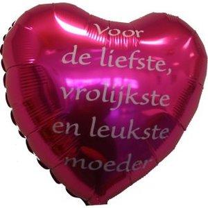 Folieballon Hart voor de liefste, vrolijkste en leukste moeder. Verschillende kleuren