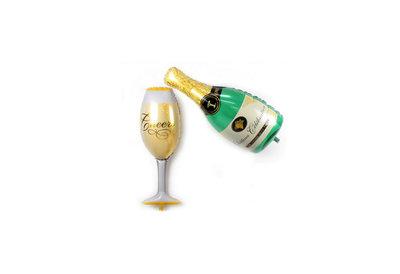Folie ballon fles champagne met glas 41*99 cm