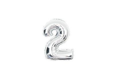 100 cm grote XL folie ballon van hoge kwaliteit nummer 2 zilver