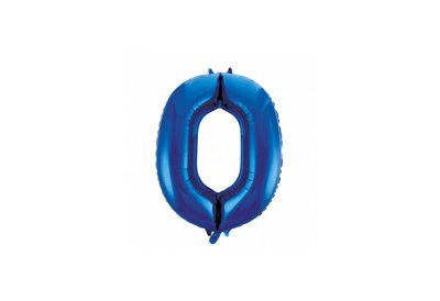 Cijferballon blauw 86 cm nummer 0 professionele kwaliteit