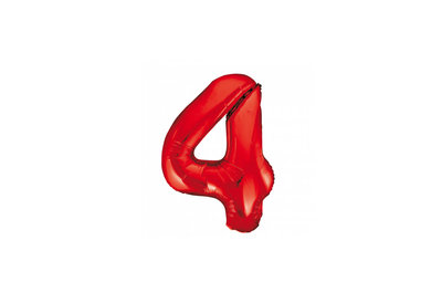 Cijferballon rood 86 cm nummer 4 professionele kwaliteit