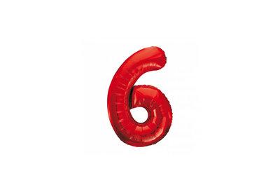 Cijferballon rood 86 cm nummer 6 professionele kwaliteit