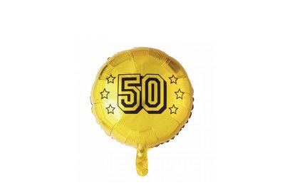 Grote Ronde Ballon Doorsnee 46 Cm Goud 50 Jaar Ballonnenparade